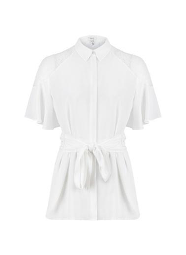 Ipekyol Dantel Mix Kuşaklı Gömlek Beyaz